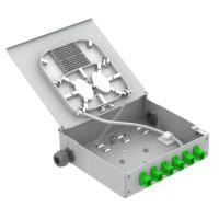 Fiber Optic Termination Box DP8 6 SC/APC Simplex SM OS2 G657.A2 Green DIN Rail Series